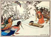 Ivan BILIBIN. Baba Yaga and the Bird-maidens. 1902