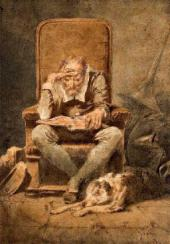 Mihály Zichy. Old Man Reading (Night). 1867