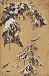 Ivan SHISHKIN. Tree Branches under Snow. 1890