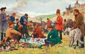 evgeny LANSERE. Royal Hunt (Peter I Hunting, Hunters at Rest). 1907