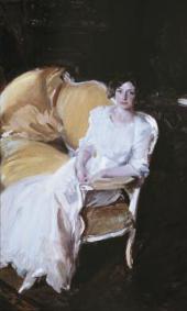 JOAQUIN SOROLLA. CLOTILDE SEATED ON THE SOFA. 1910