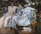 JOAQUIN SOROLLA. THE ARTIST'S WIFE AND DAUGHTERS IN THE GARDEN. 1910