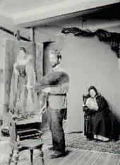 Leonid Pasternak painting a portrait of Rosalia Rosenfeld. Moscow. 1900