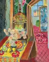 HENRI MATISSE. INTERIOR, FLOWERS AND PARAKEETS. 1924. Detail.