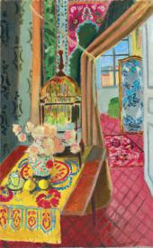 HENRI MATISSE. INTERIOR, FLOWERS AND PARAKEETS. 1924