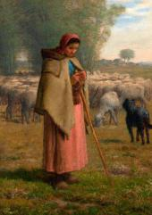 Jean-Francois MILLET. Shepherdess: Plains of Barbizon. Before 1862