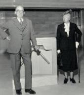 Sterling and Francine Clark at the museum's turnstile on the opening day