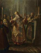 IVAN BELSKY. BISHOP DURING A SERVICE. 1760s