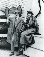 ALEXANDER AND ANGELICA ARCHIPENKO ON BOARD THE S.S. MONGOLIA, EMIGRATING TO THE