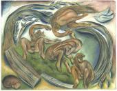 "ILLUSTRATION FOR VELIMIR KHEBNIKOV'S POEM ""VILA I LESHII (THE WOOD NYMPH AND THE"