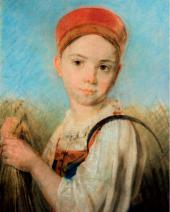 Alexei VENETSIANOV. A Peasant Girl with Scythe in the Rye. Late 1810s-early 1820