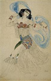 "LEON BAKST. SALOME SKETCH OF THE COSTUME FOR THE PRODUCTION OF OSCAR WILDE'S ""SA"