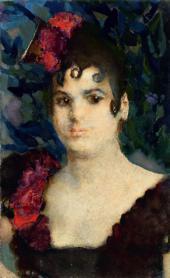 Mikhail VRUBEL. Portrait of Tatyana Lubatovich as Carmen. 1890s