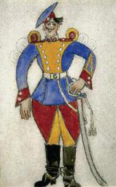 MIKHAIL LARIONOV. SOLDIER. 1915. SKETCH OF THE COSTUME FOR SERGEI PROKOFIEV'S BA