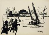 KONSTANTIN MOLCHANOV. ANTI-AIRCRAFT GUNS ARE WORKING. LENINGRADSKOYE HIGHWAY. 19