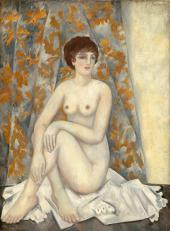 Nude in Front of Draperies. 1920