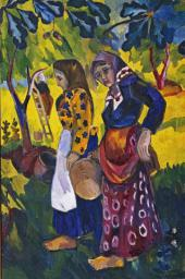 Natalia Goncharova. Fruit Gathering. 1908. A detail of the tetraptych