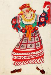 "Russ ian Housemaid Costume design for ""Le Coq d'Or "" (The Golden Cockerel)"