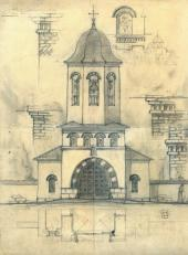 Alexei Shchusev. Working draft of the belfry of the Holy Trinity Church
