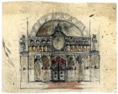 Alexei Shchusev. Sketch of iconostasis for the Holy Trinity Church in Cuhureştii