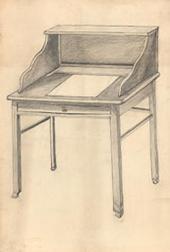 Natalia Goncharova. Writing desk Furniture design for the Koussevitzky villa.