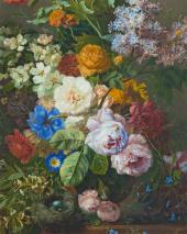 Georgius Jacobus Johannes van Os. Still-life with flowers and bird's nest.Detail
