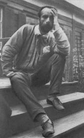 Isaac Levitan on the porch of the Larionovs' house in Gorodok
