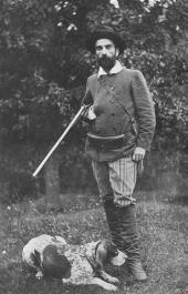 Isaac Levitan with his dog Vesta. 1890s