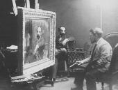 Valentin Serov working on Levitan's portrait in Levitan's Moscow studio