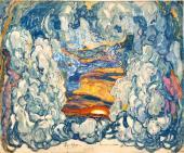 """Background. Set design """"The Firebird"""", ballet by Igor Stravinsky"""