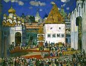 "Konstantin Yuon. A Square in the Kremlin. Set design to ""Boris Godunov"""