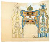 "Set design (development version) to ""The Nightingale"", opera by Igor Stravinsky"