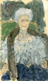 Alexander Golovin. Portrait of Gurly Telyakovskaya. 1910s