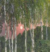 Alexander Golovin. Birch Trees at Night. 1908-1910