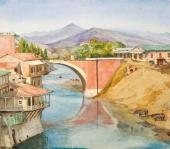 Yekaterina Lanceray (née Benois). Bridge in Tiflis. 1874
