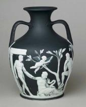 Copy of the Portland vase in black jasper with white relief decoration. C. 1790