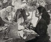 "Tatiana Yablonskaya working on the painting ""Grain"". 1949"