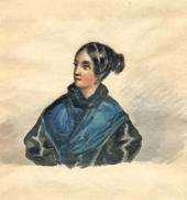 Mikhail Lermontov. Portrait of Varvara Lopukhina 1835-1838 (?)
