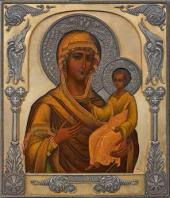 Iverskaya Mother of God Icon in setting. Early 20th century