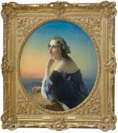 Timof ei Neff 4 Dreaming. 1840s Oil on canvas. 111.2 × 96 (oval) Frame with stuc