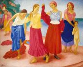Kuzma Petrov-Vodkin. Young Girls on the Volga. 1915