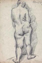 Alexander Osmerkin. Standing Female Model. 1922-1923