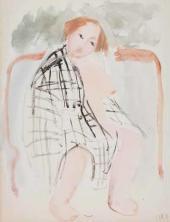 Tatiana Mavrina. Nude in a Checkered Cloth (In a Bath-house). 1929