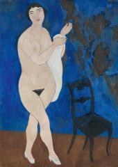 Alexander Shevchenko. Nude against a Blue Background. 1916