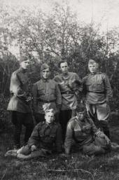 Konstantin Molchanov (sitting on the left) with his fellow-soldiers. 1943