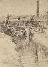 Lev Kotlyarov. Wooden dam. 1943