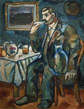 Alexei MORGUNOV. Male Portrait (Tea Time). Early 1910s