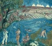 Mikhail LARIONOV. Bathing Soldiers. 1911