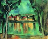 Maurice de VLAMINCK. A Small Town at the Side of a Lake. C. 1909