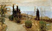 Isaac LEVITAN. Small Garden in Yalta. Cypresses. 1886